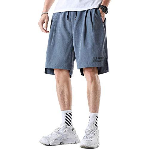 Jubaton Pantalones Cortos Casuales con Movimiento Holgado y cómodo de Talla Grande para Hombre, Cintura elástica de Ajuste Regular con cordón 4XL