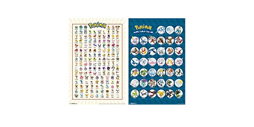 """Trends International Wall Poster Pokemon Kanto Grid & Legandary Collector's Bundle, 22.375"""" x 34"""""""