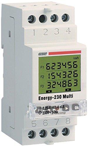Vemer VE429700 Contatore di Energia Energy-230 Multi con Contabilizzazione per Fasce Orarie Multitariffa per Sistemi Monofase, Bianco