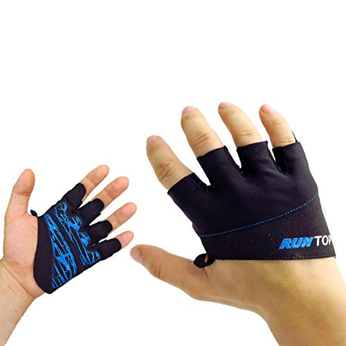 Workout Gloves Weight Lifting Grips with Silicon Padding by RUNTOP - Exercise Gloves Perfect for Women Men Crossfit Training WODS Weightlifting Bodybuilding PowerLifting GYM Fitness (Electric Blue, M)