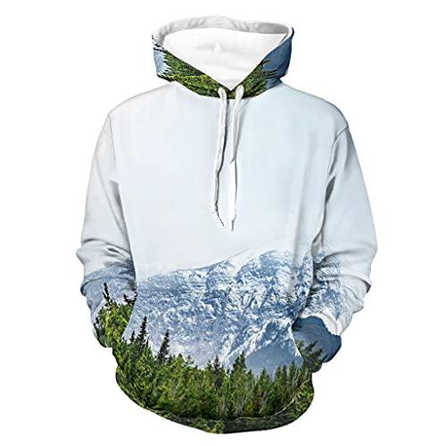 Niersensea Sudadera con capucha para niños de manga larga con diseño de montaña, nieve, árboles, talla 3XL, color blanco