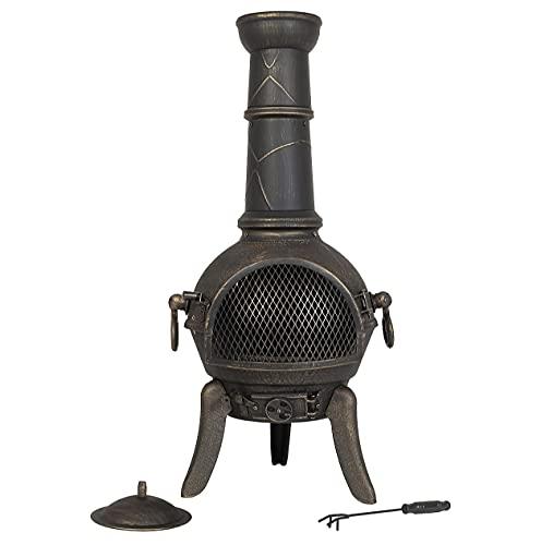 Tall Modern Cast Iron La Hacienda Cuba Chiminea, Log Burner (Large Garden Patio Heater, Fire Pit Chiminea)