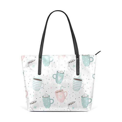TIKISMILE Romantische Tassen Herzen Kaffee Muster Casual PU Leder Tote Schulter Handtasche für Frauen Mädchen