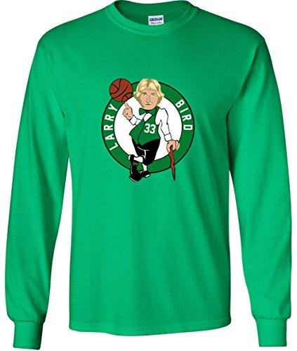 Shedd Shirts Long Sleeve Green Bird Boston Logo T-Shirt Adult