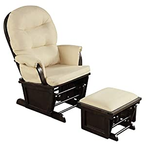 Costzon Baby Glider and Ottoman Cushion Set, Wood Baby Rocker Nursery Furniture for Napping, Nursing, Reading, Upholstered Comfort Nursery Chair w/Padded Armrests & Detachable Cushion (Beige)