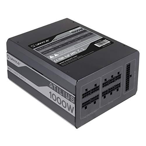 UNYKAch Atilius - Fuente de alimentación (1000W, Full Modular, 87{f5b9f26ec7ed60c6312188112065368c8f7963ed79ba07346256a3acf4b4b2e1} eficiencia, 140mm) Color Negro