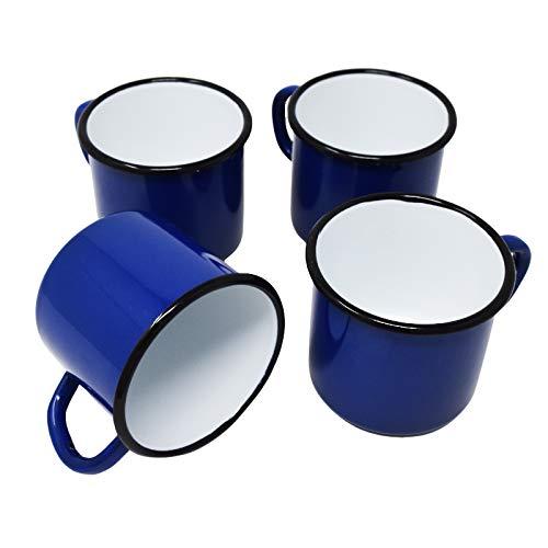 4 tazas de metal esmaltado azul, 250 ml