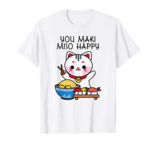You Maki Miso Happy Sushi Love Japan Katze Süßes Kawaii T-Shirt