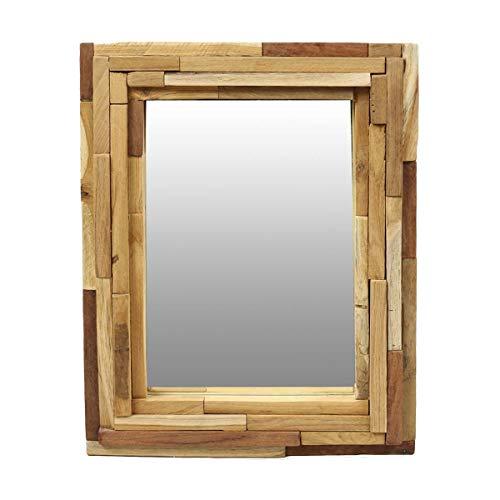Oriental Galerie Wandspiegel mit Rahmen aus Holzstücken Spiegel Thailand Massiv Holzrahmen Holz-Spiegel Natur ca. 45 x 60 cm