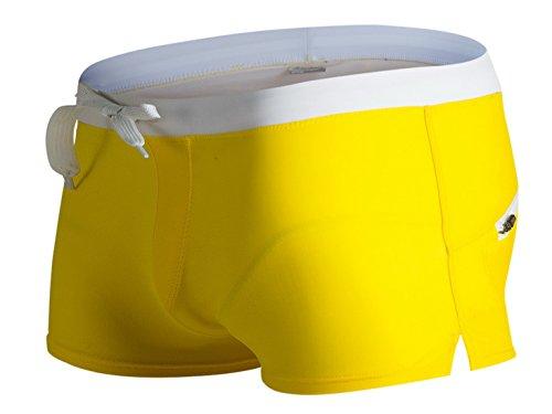Panegy Badehose Herren Shorts Badeshorts Schwimmhose Wassersport Kurz Hose mit Kordelzug Rückentasche S M L XL - Gelb