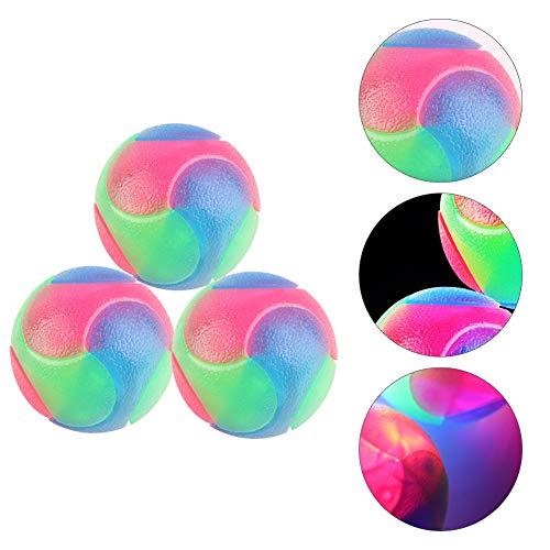 Brownrolly 3 Stück blinkender elastischer Ball, leuchtet im Dunkeln, interaktives Spielzeug für Welpen, Katzen, Hunde
