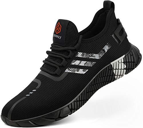 Kefuwu Zapatillas de Seguridad Hombre Ligero Calzado de Seguridad CómodoTranspirable con Punta de Acero Zapatos de Trabajo Verano (Negro Blanco, 44 EU)
