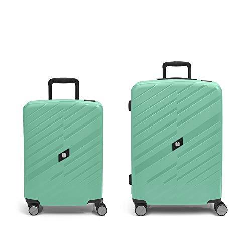 Gabol - Sendai | Rigids Green Travel Suitcase Set with Cabin Trolley and Medium Trolley