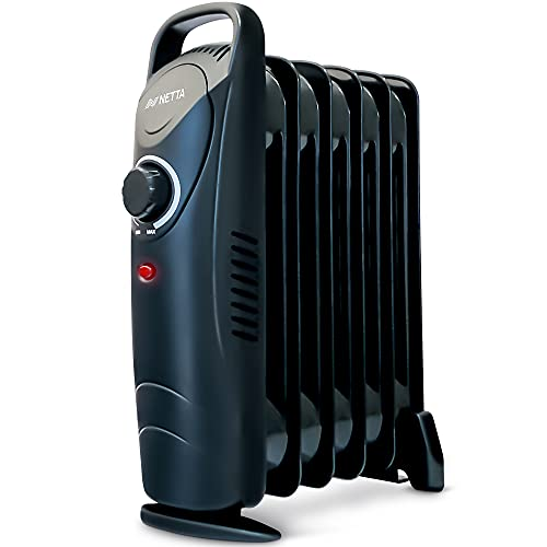 NETTA Oil Filled Radiator Heater - Small Electric Oil Filled Mini Portable Radiator With Thermostat - 800W - Including Adjustable Thermostat, Overheating Protection - 6 Fin Black