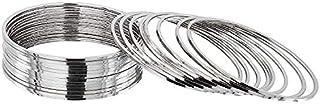 I Jewels 18K Silver Plated Traditional Oxidized Plain Bangle Set For Women (ADB158S) (Set of 24 Bangles)