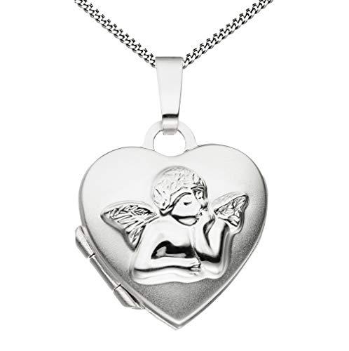 Medaillon Herz Engel teilmattiert 925 Sterling Silber zum Öffnen für Bildereinlage 2 Fotos Amulett + Kette mit Schmuck-Etui von Haus der Herzen®