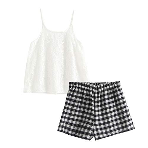 JUTOO JUTOO Kleinkind Baby Kinder Mädchen ärmellose Feste Spitze Bänder Tops Plaid Short Outfit Set (Weiß,90)