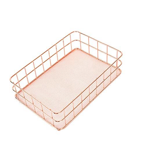 Cesta de almacenamiento de hierro, soporte de escritorio, contenedor de oficina en casa, cesta organizadora de almacenamiento de metal para baño, dormitorio