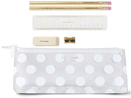 Kate Spade New York Pencil Case Including 2 Pencils, Sharpener, Eraser, and Ruler School Supplies, Jumbo White Dot