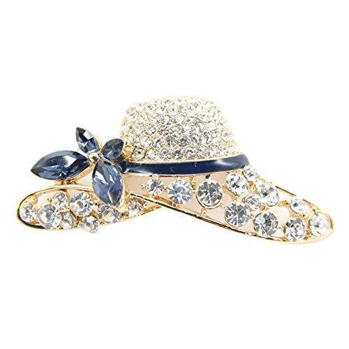 Lumanuby 1x Elegant Blau Sommer Hat Anstecker mit Pin Strass Hut Pin aus Legierung für Anzug Mantel oder Schal für alle Jahreszeiten Geschenk für Freundin oder Liebhaber, Brosche Serie Size 5.2x2.6cm