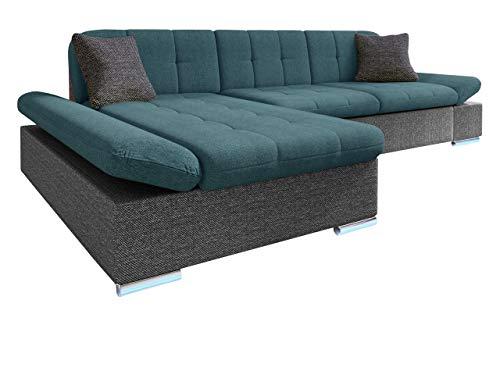 Ecksofa Malwi LED, Regulierbare Armlehnen und LED Beleuchtung im set, Eckcouch mit Schlaffunktion und Bettkasten, L-Form Couch, Sofa, Wohnlandschaft (Boss 12 + Enzo 155 + Boss 12, Seite: Links)