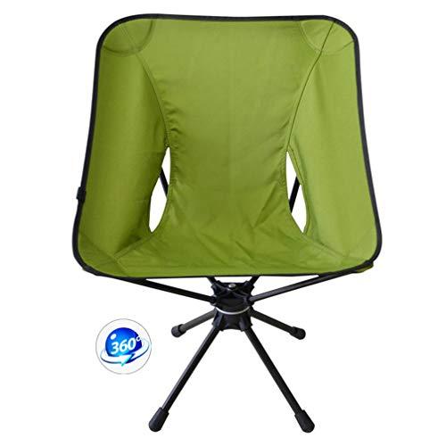 APJJ Folding Camping Chair Lightweight, 360°Rotatable Folding Leisure Chair Aluminum Fishing Chair Camping Rotating Chair, Patio Lounge Portable Seat for Outdoor Fishing Festival Beach Travel,Green