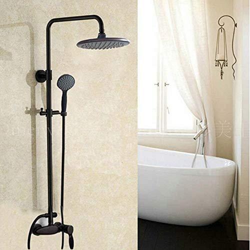 BTBHBI Duschsysteme, 8 Zoll Niederschlag Öl eingerieben Bronze massivem Messing Dusche Wasserhahn Mischbatterie Einhebelmischer, klar