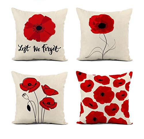 Awowee - Set di 4 federe per cuscino in lino, motivo papavero luminoso, simbolo del giorno della memoria Lest We 45 x 48 cm, decorazione per la casa quadrata in lino per divano