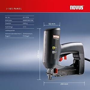 Novus Elektrotacker J-165 Profi, rückschlagarmer Paneel-Tacker, Nachschlagfunktion, verarbeitet Klammern und Nägel