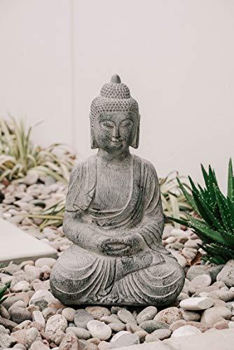 XBrand CR2309BDGR Indoor Outdoor Polyresin Meditating Sitting Buddha Zen Statue, 23.6 Inch Tall, Grey