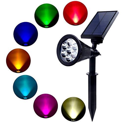 Foco Exterior Solar LED con Sensor Crepuscular, Modelo Managua, Energía Limpia, Potencia 2W, Luz Multicolor, Portátil, Ideal para Jardín y Terraza, Color Negro, Fácil Instalación