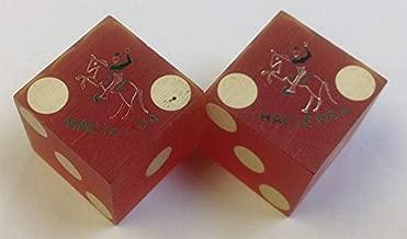 Pair of Used Hacienda Casino Red Dice Las Vegas Nevada Matching Logo 1950's