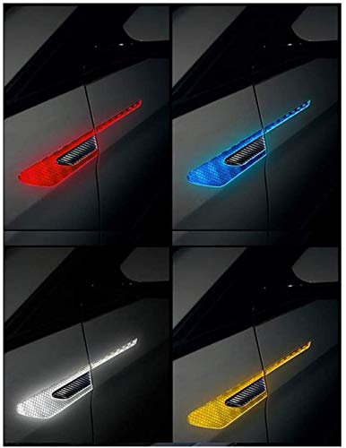 TRUE LINE Automotive Black Carbon Fiber Side Door Fender Reflective Warning Molding Accent Trim Kit (Silver)