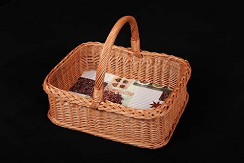 rattan-petrak Tablett, Stabiler Tablettkorb mit Bügelgriff; aus unbehandelter Weide; mit Trendiger Wachstuchfolie Versehen (52x40 H17/39cm)