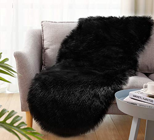 Ultra Soft Faux Sheepskin Fur Rug Fluffy Rug for Bedroom Fuzzy Carpet for Living Room Kid's Room Nursery Decor, Black 2 x 6 Feet, Ciicool