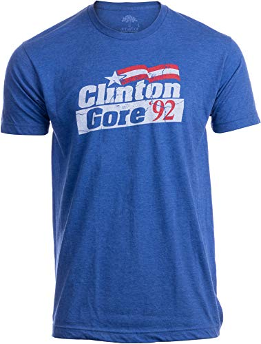 Clinton Gore '92 | Vintage Style Liberal Democrat Presidential Unisex T-Shirt-Adult,2XL Heather Royal Blue