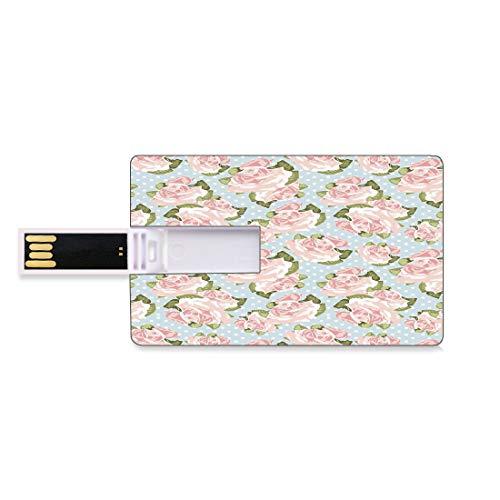 64GB Unidades Flash USB Flash Decoración Shabby Chic Forma de Tarjeta de crédito bancaria Clave Comercial U Disco de Almacenamiento Memory Stick Artístico Inglés Plantas de jardinería Lunares de Moda