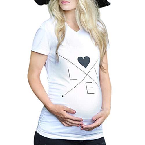 ❤ T-Shirt de Maternité, Solike Femme Vêtement de Maternité Mignon Motif Imprimé Tops de Maternité à Manches Courte Humour Maternité Tee Shirt Cadeau de Saint Valentin (L/38, Blanc-1)