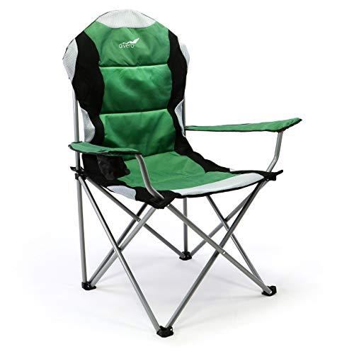 Divero Deluxe Campingstuhl grün schwarz Faltstuhl Angelstuhl gepolstert extra breit bis 130 kg
