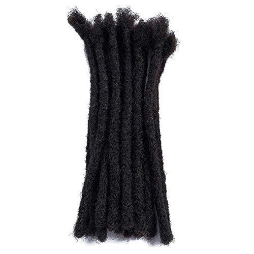 100% Human Hair Dreadlock Extensions 20 Strands,Dsoar Handmade Crochet Loc Extensions Medium Size (Width 0.8 cm,8 inch,Natural Black Color)