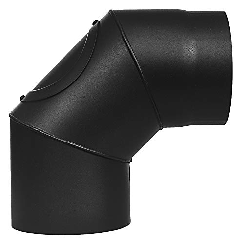 Duratherm Codo de 90° para chimenea de estufa Ø 150 mm sólido con puerta 1,8 mm de grosor, acero negro mate
