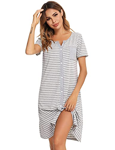 Doaraha Nachthemd Damen Baumwolle Stillnachthemd 3/4 Ärmel Streifen Nachtkleid Kurzarm Knopfleiste Nachtwäsche Sleepshirt Mit Vordertasche Geburt Schlafshirt