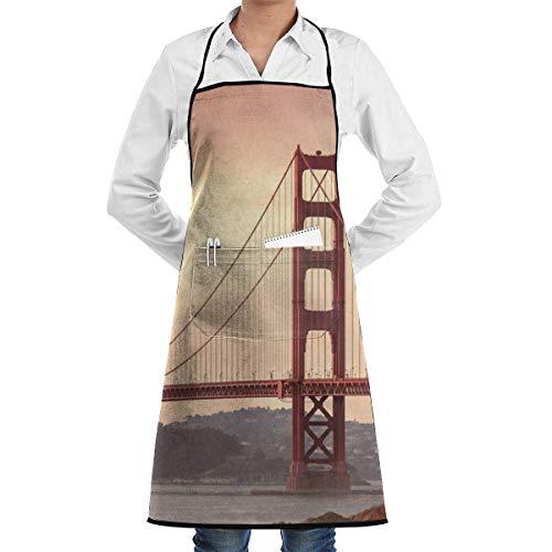 dfhfdsh Schürze Kochschürze Golden Gate Bridge San Francisco California Grill Aprons Kitchen Chef Bib Professional for BBQ Baking Cooking for Men Women Pockets