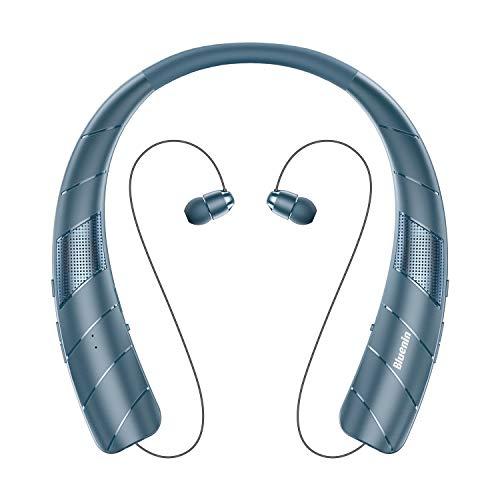 Bluenin BlueWave Pro 1 Bluetooth Headphones Speaker 2 in 1,Wireless Headphones Neckband Wearable Speaker Retractable Earbuds 3D Stereo Sound Sweatproof Headset with Carry Bag (Navy Blue)