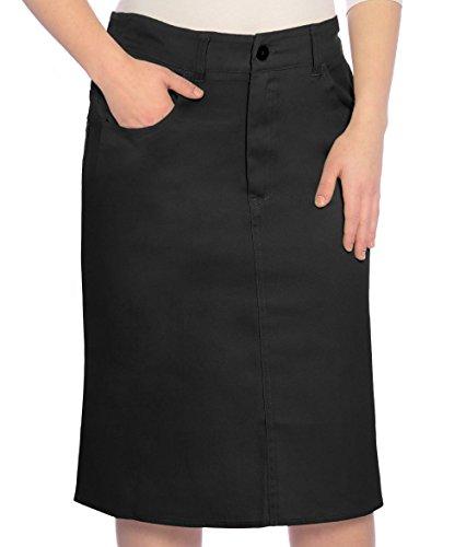 Kosher Casual Women's Modest Knee Length Lightweight Cotton Stretch Twill Pencil Skirt Large Black