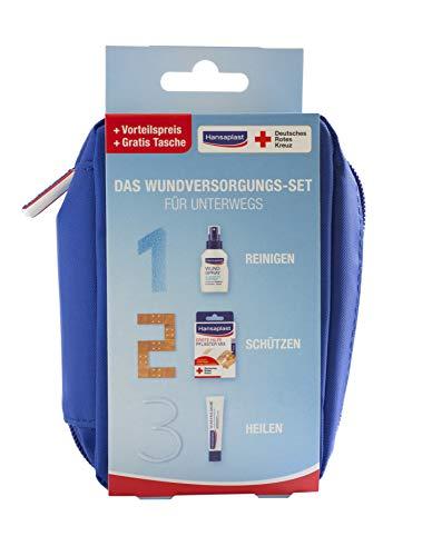 Hansaplast Wundversorgungs-Set, praktisches Set für Unterwegs, in 3 Schritten zur schnellen Wundheilung mit Wundspray, Wundpflaster und Wundheilsalbe