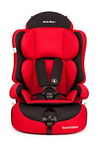 Babylon silla bebe coche isofix 1 2 3 Guard ISOFIX silla bebe coche para Niños 9-36 kg silla coche grupo 1 2 3 isofix, silla coche bebe ECE R44 / 04 roj