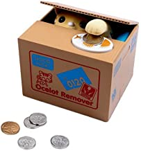 Dazzling Toys Christmas Piggy Bank Battery Operated Kids Cat Stealing Money Saving Bank Box, Great Holiday Idea for Boys and Girls.
