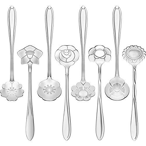8 Pieces Flower Spoon Coffee Teaspoon Set Stainless Steel Tableware Creative Sugar Spoon Tea Spoon Stir Bar Spoon Stirring Spoon, 8 Different Patterns (Silver)