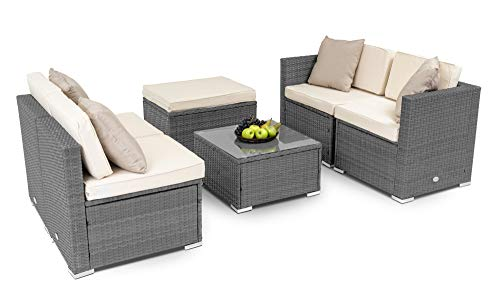 diVolio MODENA Lounge Set in 3 verschiedenen Farben+Sitzauflagen+Rückenkissen, wetterfester Kunststoff in Rattanoptik+gratis Fleecdecken